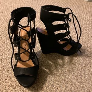 Gorgeous black wedge sandals